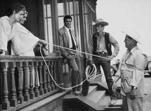 Elizabeth Taylor, Rock Hudson, James Dean and George Stevens on location in Marfa Texas.jpg