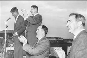 John F. Kennedy in 1960 with, left to right, Orville Freeman, Hubert Humphrey and Eugene McCarthy..jpg