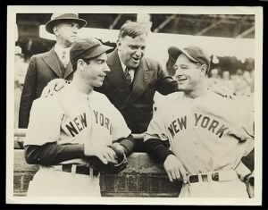 Joe DiMaggio, Fiorello La Guardia, Lou Gehrig, 1938 World Series,.jpg