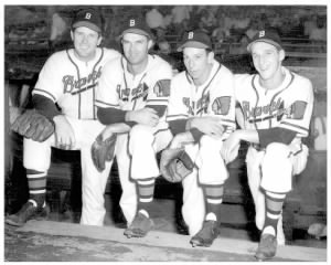 Bill Voiselle, Johnny Sain, Vern Bickford, and Warren Spahn..png