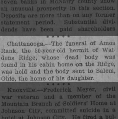 Chattanooga: Amos Rank, age 80. body shipped to dtg in Salem, Ohio- 1919