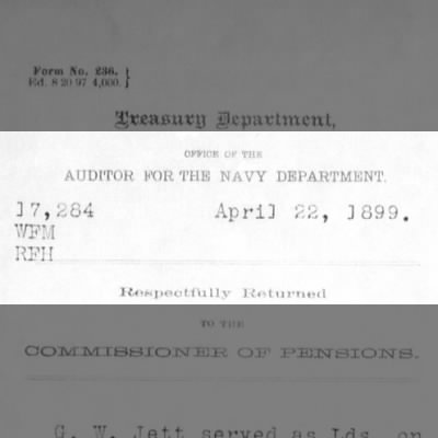 Auditor for the Navy Department verification document dated April 22, 1899.