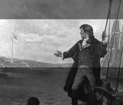 Francis Scott Key Viewing US Flag from ship , He wrote Star Spangled Banner