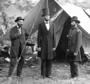 Allan Pinkerton, Abraham Lincoln, and General McClerland.jpg