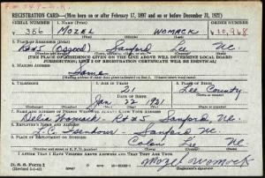 Mozel Womack's Military WWII Draft Card.PNG