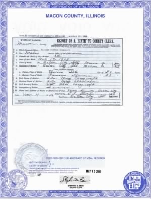 William Clifton Craycroft birth certificate