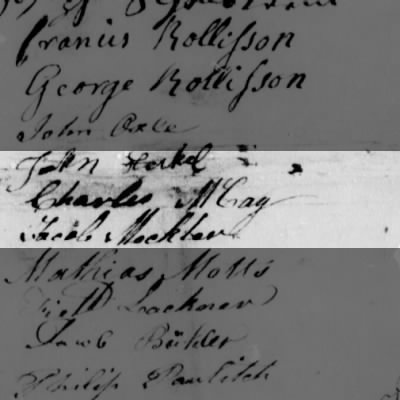 Charles McCay/McCoy signature, Continental Congress Papers