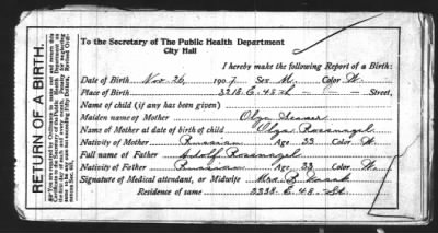 Henry Rosnagel's birth record.