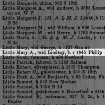 Little Mary A., wid Lindsay, h r 1645 Philip