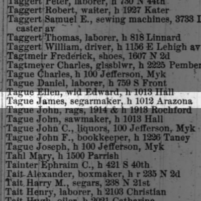 Tague James, segarmaker, h 1012 Arizona