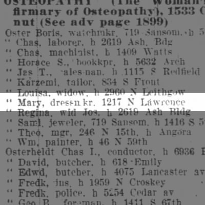 Oster Mary, dressmkr, 1217 N Lawrence
