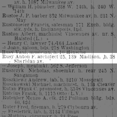 Rusy, Anton  1894 Chicago City Directory